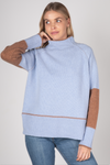 BLOCK COLOUR FUNNEL NECK IN SKY COMBO