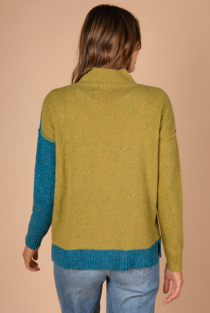 BLOCK COLOUR KNIT IN LIME COMBO