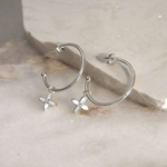 DESERT FLOWER MEDIUM HOOP EARRINGS IN STERLING SILVER