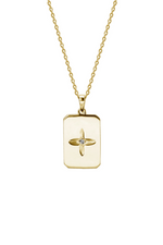 DESERT FLOWER RECTANGLE NECKLACE IN 18 KT YELLOW GOLD PLATE