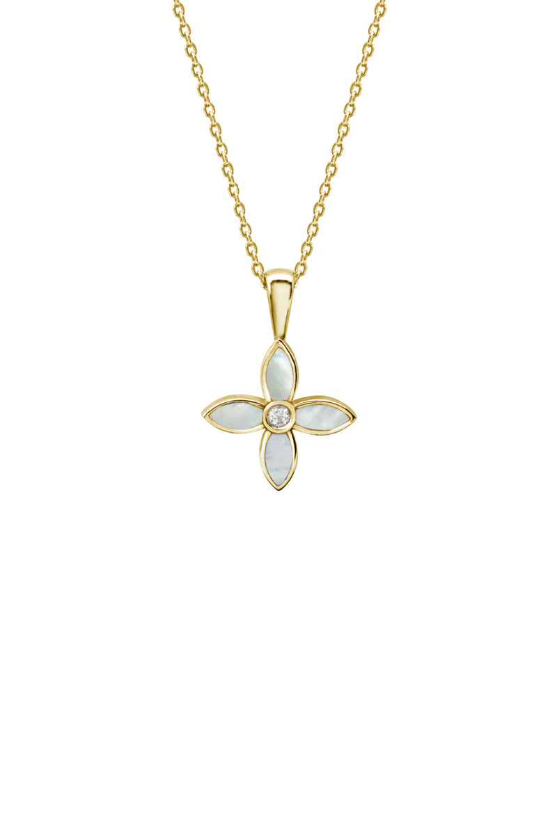 DESERT FLOWER NECKLACE WITH MOTHER OF PEARL IN 18KT YELLOW GOLD PLATE