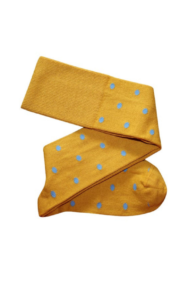 DOTTY KNEE HIGH COTTON SOCKS IN MUSTARD/BLUE