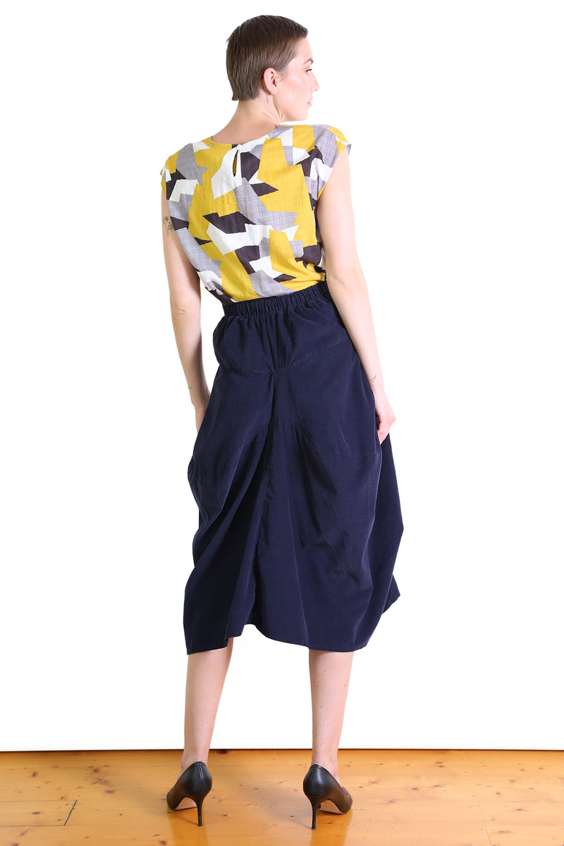DOWNTOWN CORD MILWAUKEE SKIRT IN FRENCH NAVY