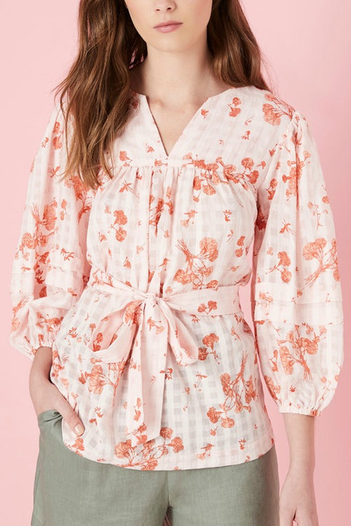 GLOUCESTER BLOUSE IN RED SUMMER FLORAL