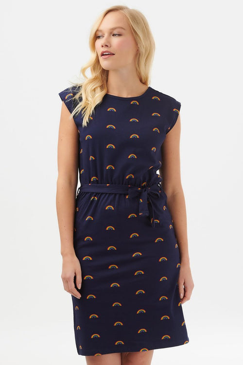 HETTI MINI RAINBOW DRESS IN NAVY