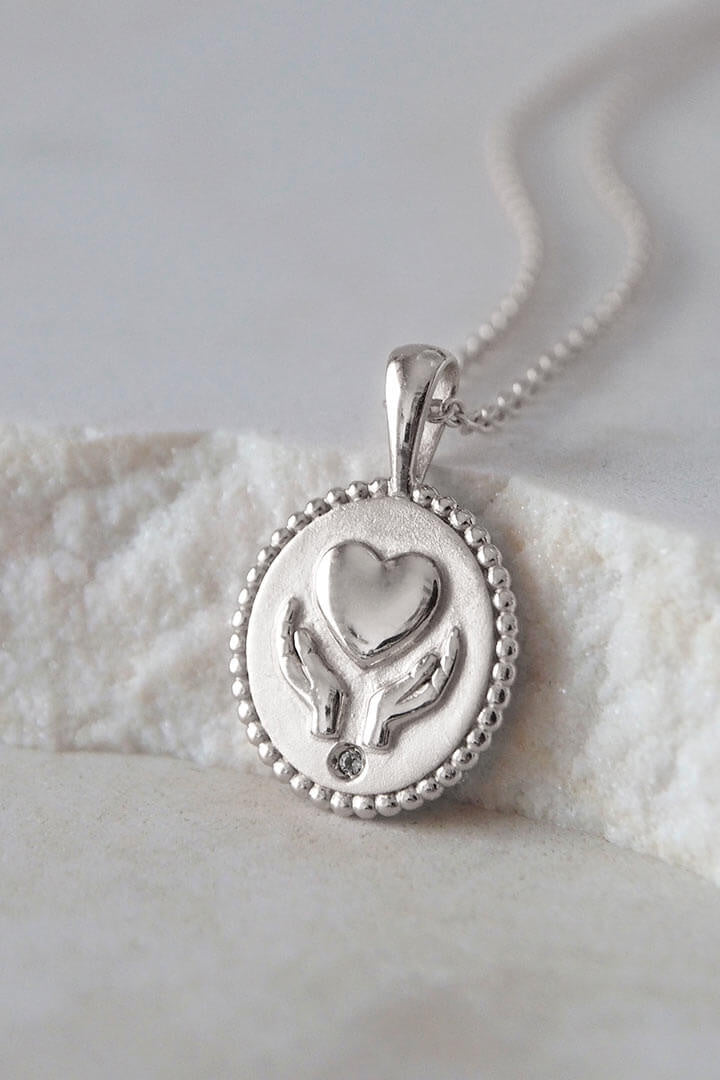 Freedom Healing Hands Necklace With White Topaz In Sterling Silver