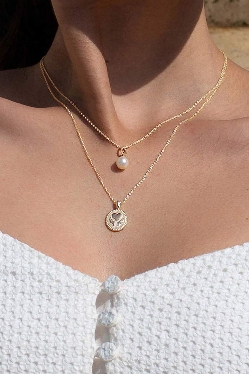 HEALING HANDS NECKLACE WITH WHITE TOPAZ IN 18KT YELLOW GOLD PLATE
