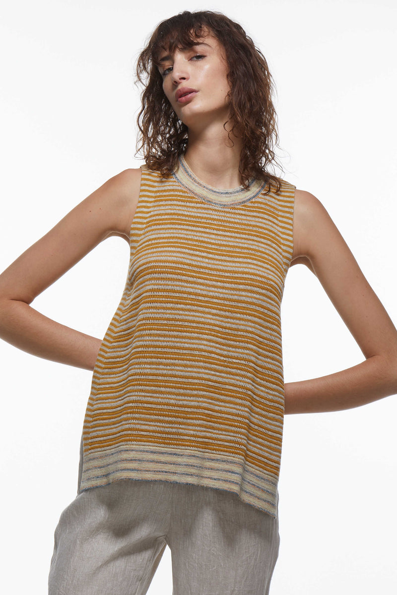 KNITTED TANK IN AMBER COMBO
