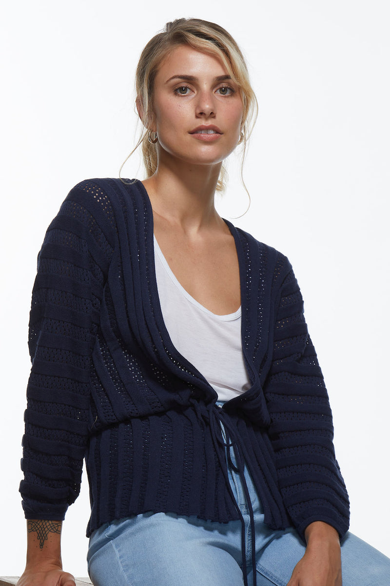 LACE CARDI IN NAVY