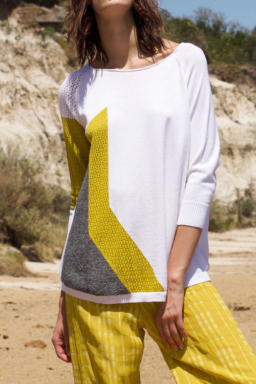 POINTELLE STAR PULLOVER IN WHITE