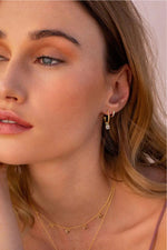 PETITES HOOP WITH 4MM TOPAZ DROP EARRINGS IN 18KT YELLOW GOLD PLATE