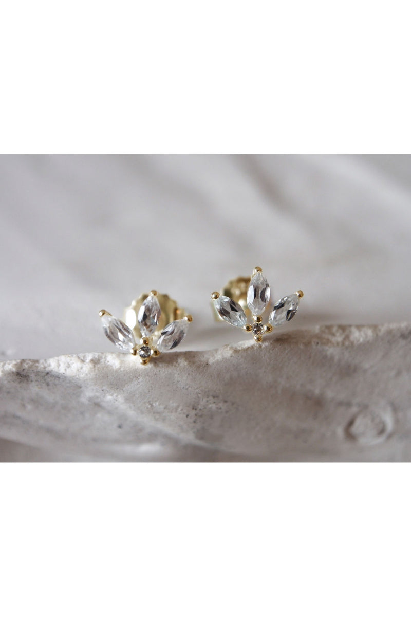 LOTUS STUDS IN WHITE TOPAZ IN 18KT YELLOW GOLD PLATE