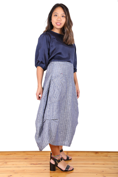 MILWAUKEE HARBOUR LINEN SKIRT IN NAVY