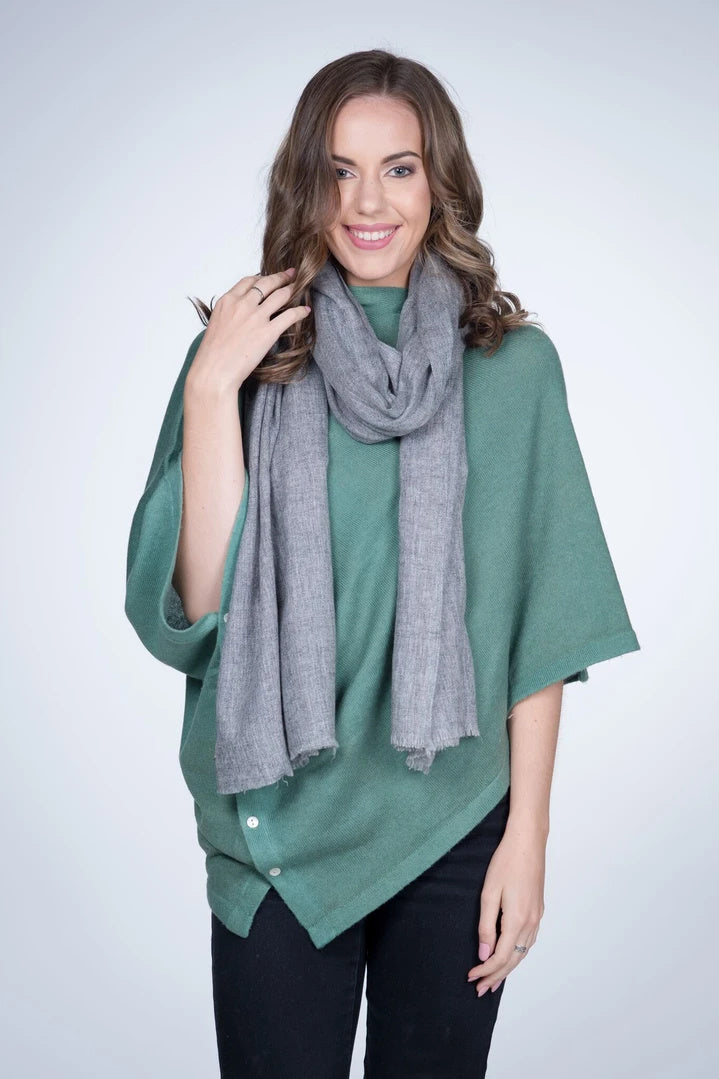 NATURAL CASHMERE SHAWL IN MID GREY