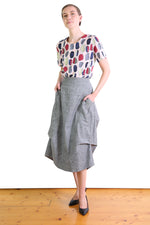 NORTH MILWAUKEE COTTON SKIRT IN CHAMBRAY BLACK