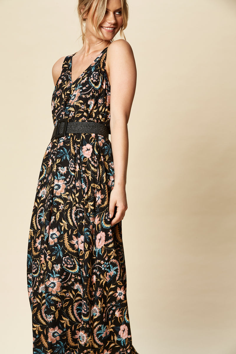 OHANA MAXI IN BLACK BOTANICAL