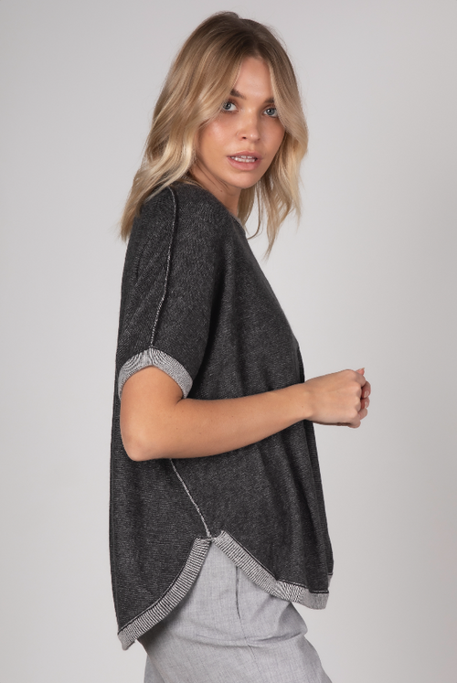 ON THE GO PONCHO IN CHARCOAL (REVERSIBLE)