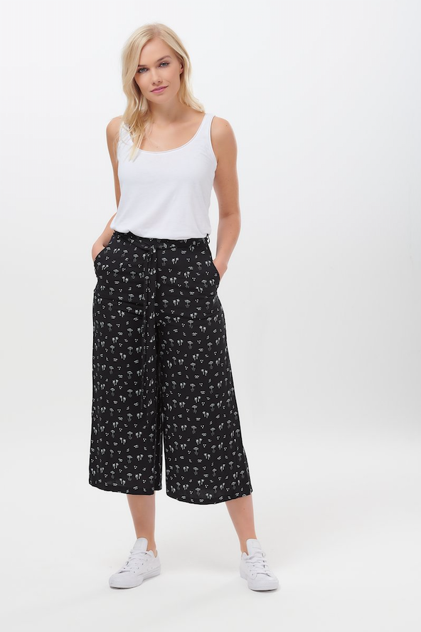 OTTILIE ISLAND BEACH CROPPED WIDE LEG TROUSER IN BLACK