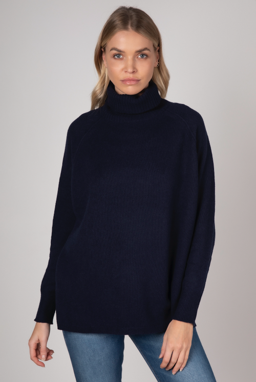 RAGLAN SLEEVE ROLL NECK IN NAVY