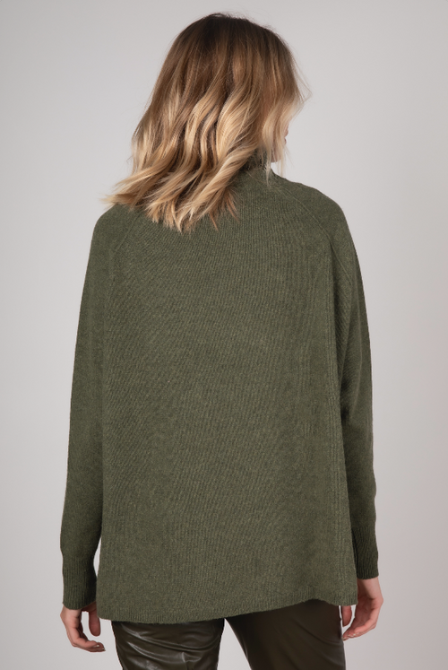 RAGLAN SLEEVE ROLL NECK IN OLIVE