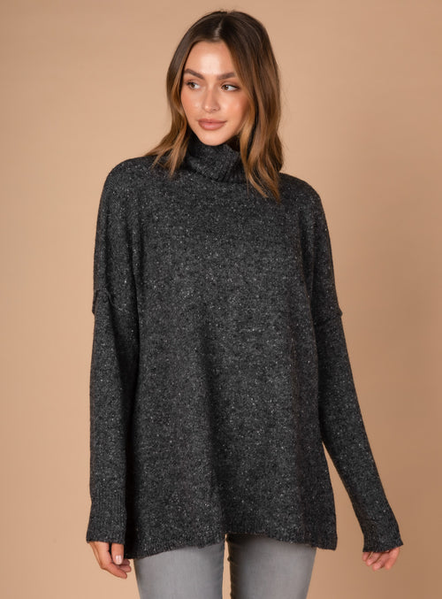 ROLL NECK FLECK TUNIC IN CHARCOAL