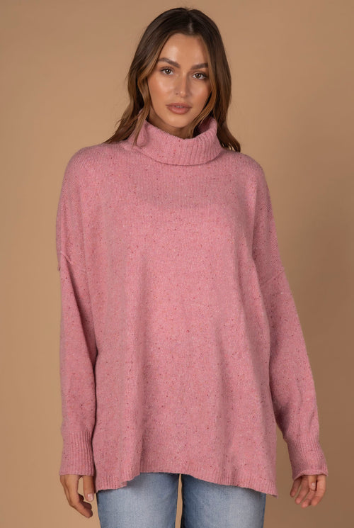 ROLL NECK FLECK TUNIC IN PINK