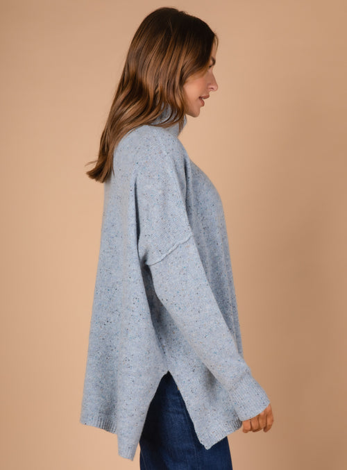 ROLL NECK FLECK TUNIC IN SKY