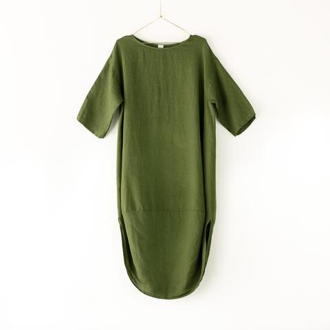 SCALLOP HEM LINEN DRESS IN GREEN