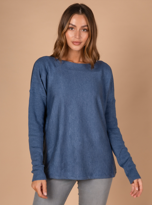 SCOOP HEM BOAT NECK IN DENIM