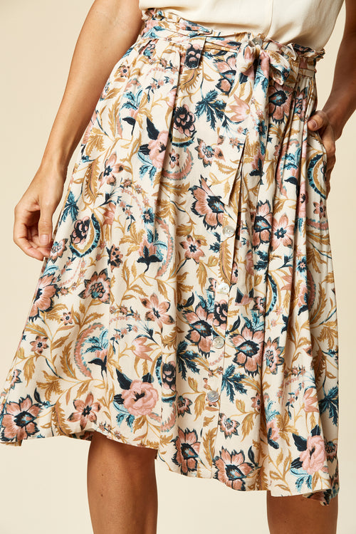 SIELA SKIRT IN BUFF BOTANICAL
