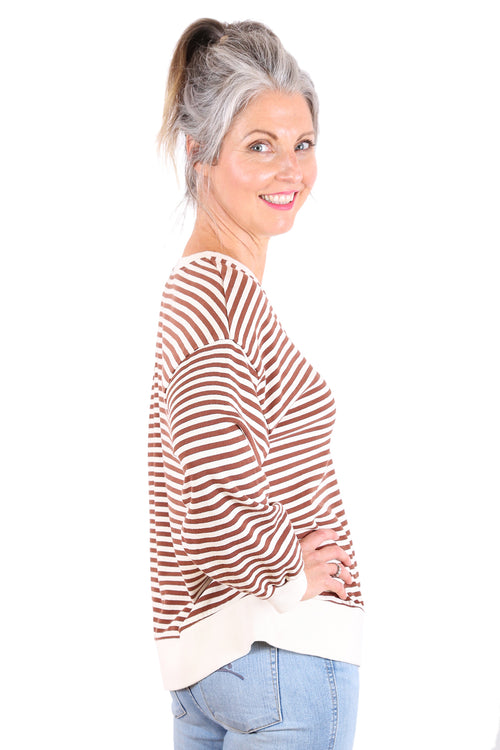 SUNDAY STRIPE SWEATSHIRT IN CARAMEL