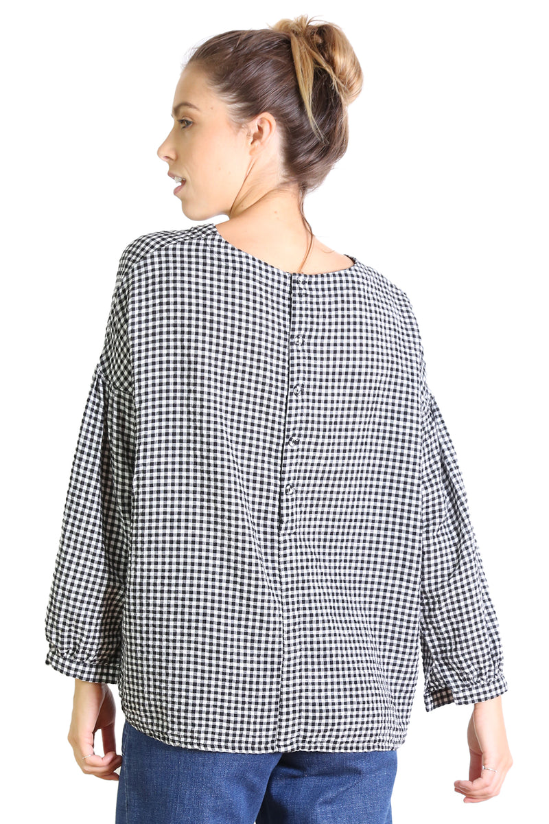 SUZANNA GINGHAM TOP IN BLACK & WHITE