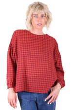 SUZANNA RETRO BLOUSE IN RED/ORANGE