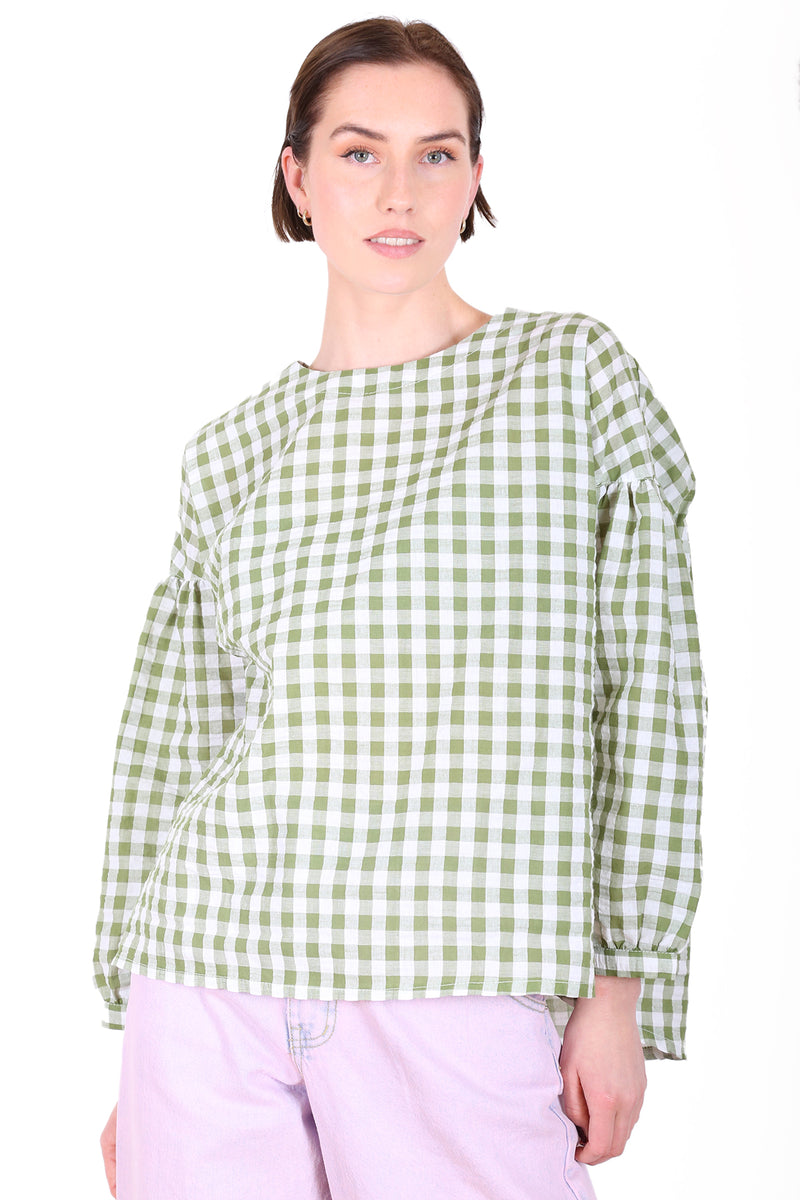 SUZI GINGHAM BLOUSE IN NAVY