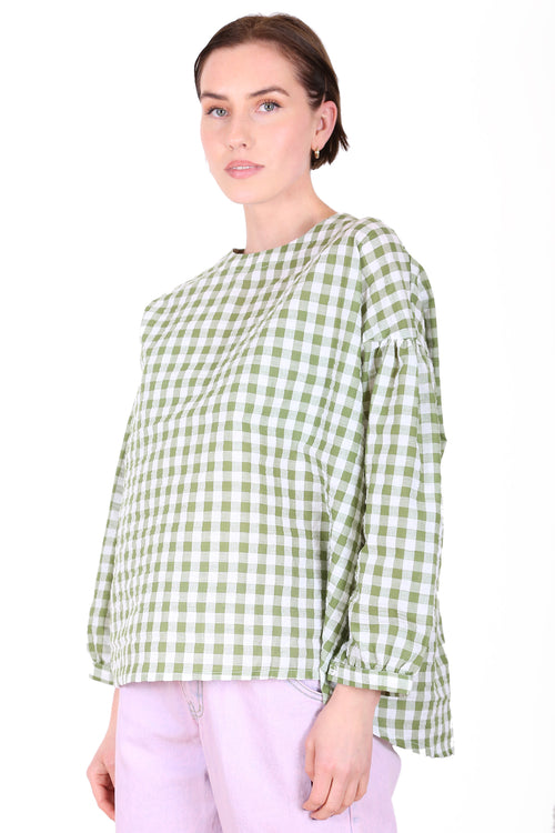 SUZI GINGHAM BLOUSE IN LIME