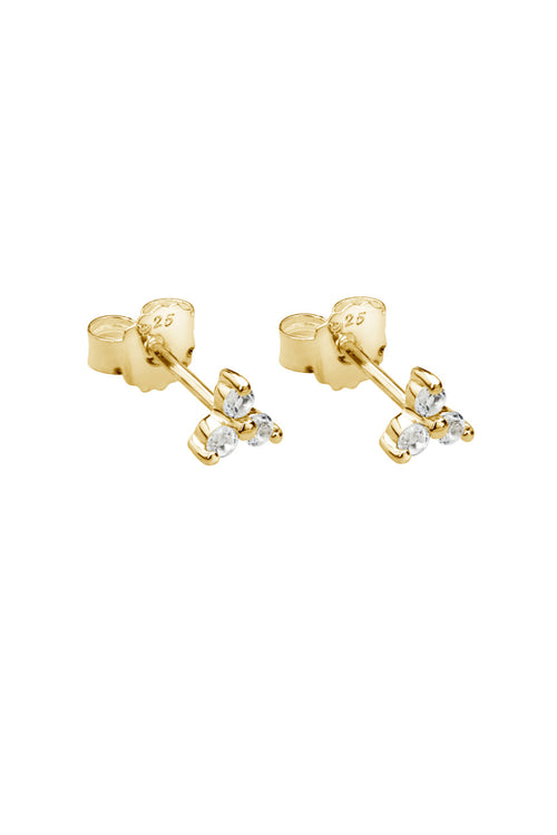 TRINITY BALL STUD EARRINGS WITH WHITE TOPAZ IN 18KT YELLOW GOLD PLATE