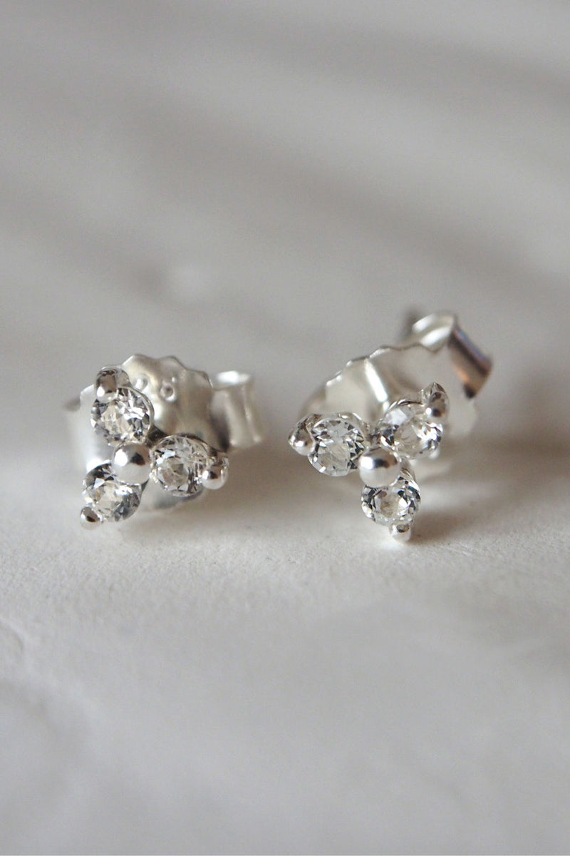 TRINITY BALL STUD EARRINGS WITH WHITE TOPAZ IN STERLING SILVER