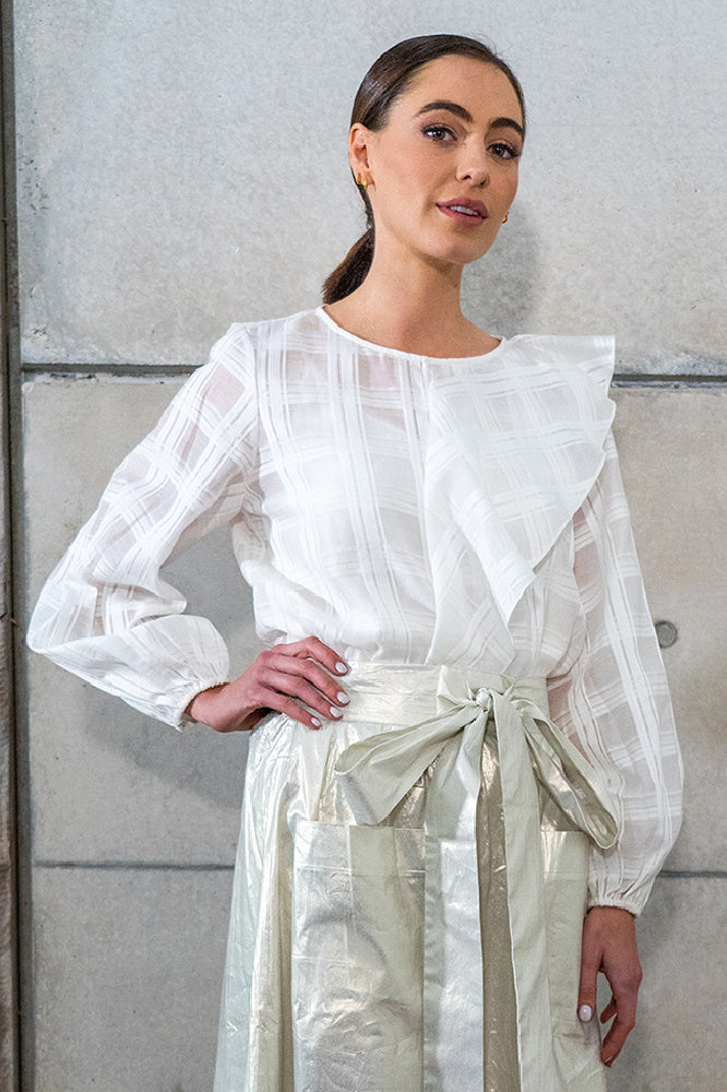 WILLOW BLOUSE IN WHITE GRID