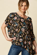 ZENA TOP IN BLACK BOTANICAL