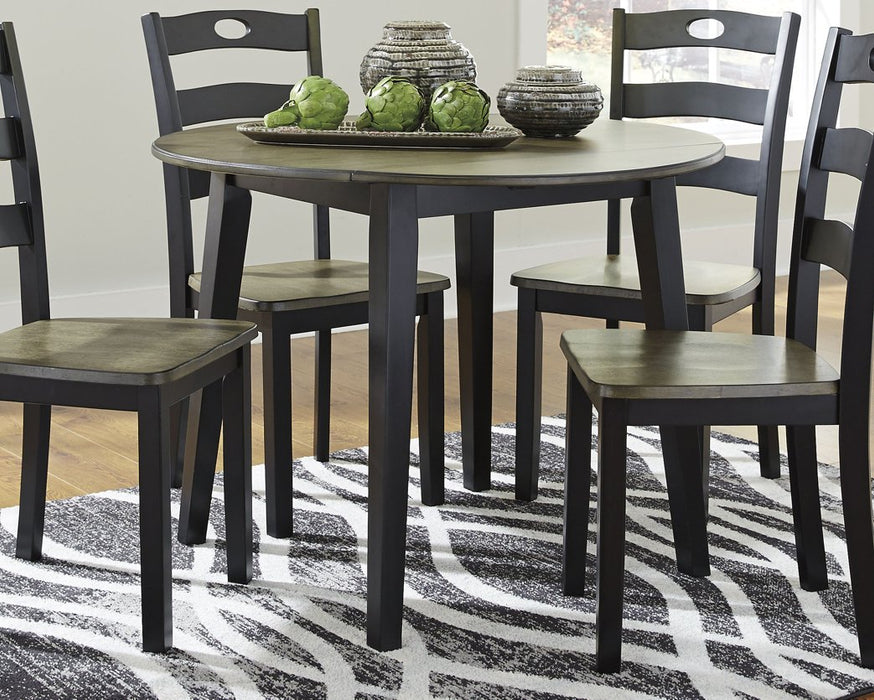 Froshburg Signature Design by Ashley Grayish BrownBlack Dining Drop Leaf Table