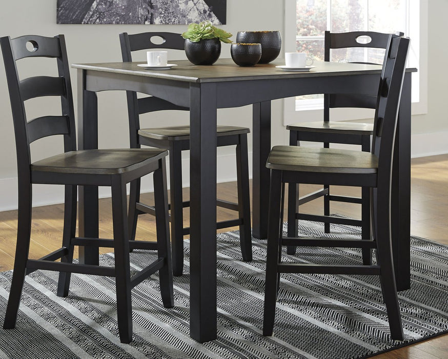 Froshburg Signature Design by Ashley Grayish BrownBlack Counter Height Dining Table and Bar Stools Set of 5