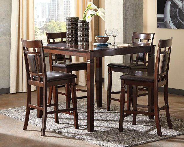 Bennox Signature Design by Ashley Brown Counter Height Dining Table and Bar Stools Set of 5