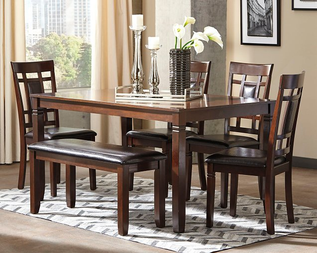 Bennox Signature Design by Ashley Brown Dining Table and Chairs with Bench Set of 6