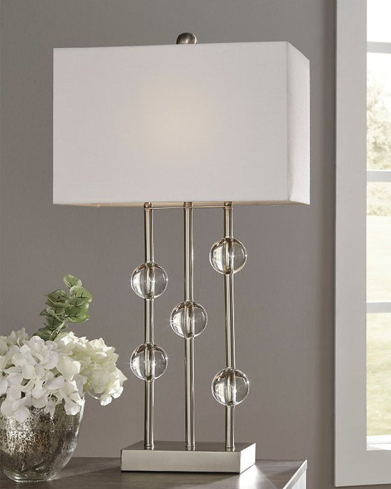 Jaala Signature Design by Ashley ClearSilver Finish Table Lamp