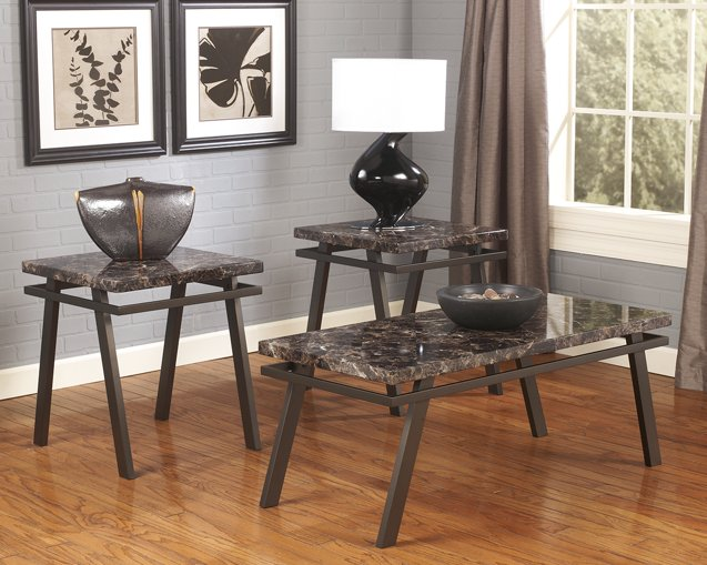Paintsville Signature Design by Ashley Bronze Finish Table Set of 3