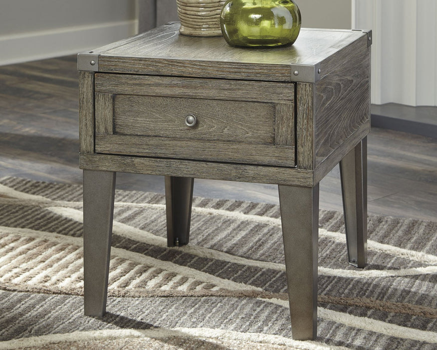 Chazney Signature Design by Ashley Rustic Brown End Table