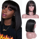 Beauty Straight BOB Wig  |  Natural Lace Wig  |  360 Human Wig  |  Black/Brown/Gray/Red Wig