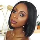 Human Hair Lace Bob Straight Black Wig (Hand-Tied)