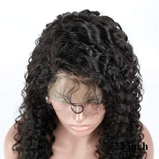 Human Hair Lace Black Curly Wig (Hand-Tied)