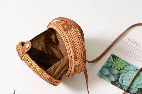Handwoven Round Rattan Bags